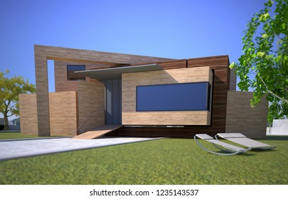 3D rendering of a wooden modern house