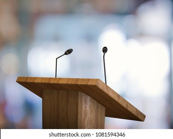 3d rendering wooden podium with microphone on blurred background