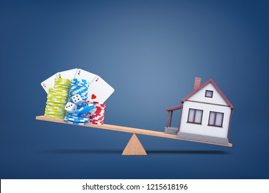 3d rendering of wooden see saw with a small house over weighing clustered gambling chips, dice and cards. Life priorities. Gambling and bets. Gambling debts versus family house.