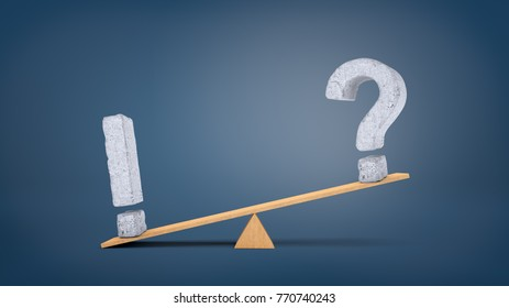 3d rendering of a wooden seesaw with a concrete exclamation sign overweighing a concrete question mark. Problems and solutions. Questions and answers. Ask and tell.