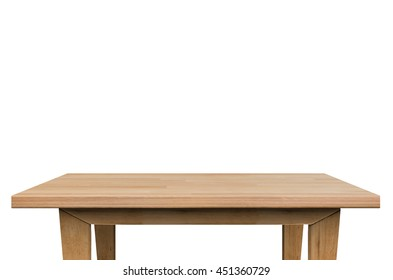 3d rendering wooden table isolated on white