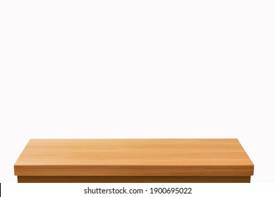 3D Rendering, wooden top table on isolated white background