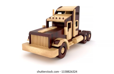 3d rendering wooden toy cars truck  from two varieties of wood vintage