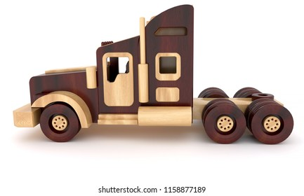 3d rendering wooden toy truck cars from two varieties of wood vintage