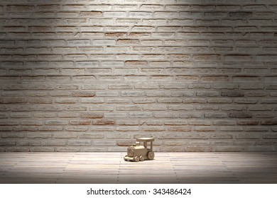 3d rendering of a wooden train on an empty room