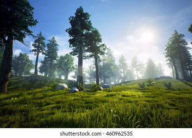 3D rendering of a woodland forest (prehistoric Hell Creek).