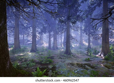 3D rendering of a woodland forest (prehistoric Hell Creek) at night.