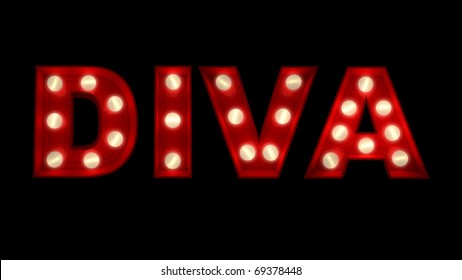 3D rendering of the word Diva written in glowing letters