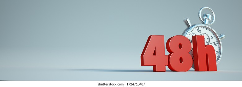3D rendering of the words 48 h and a stopwatch