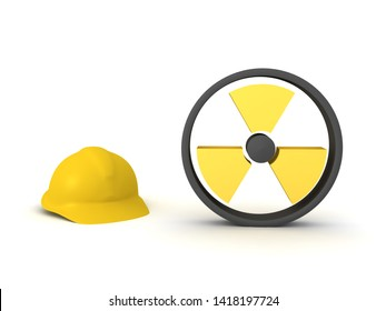3D Rendering of worker hat and radioactive sign. 3D Rendering isolated on white.