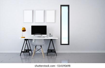 3D rendering of working room