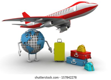 3D rendering of a world globe, an airplane with a high key pile of luggage