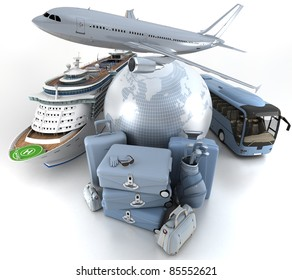 3D rendering of a world globe, an airplane, a cruise ship and a coach bus with a high key pile of luggage