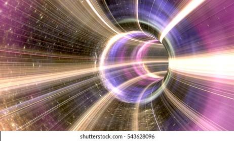 3D rendering Wormhole cosmic tunnel