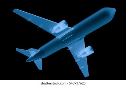 3d rendering x ray airplane isolated on black