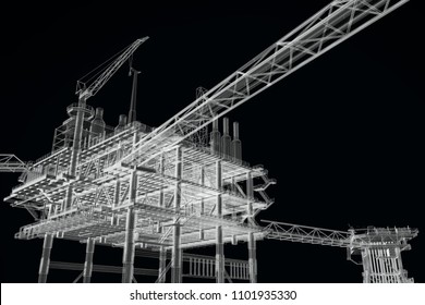 3D rendering , X- ray Oil rig constructtion plant,black and white color .