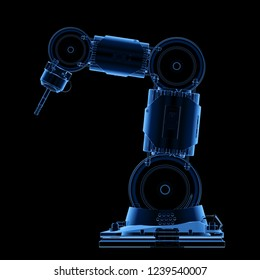 3d rendering x-ray welder robotic arm isolated on black background