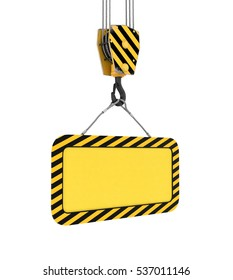 3d rendering of yellow board hanging on a hook with two ropes isolated on the white background. Building industry. Building materials. Materials transportation.