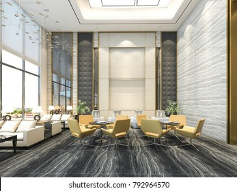 3d rendering yellow chair in luxury hotel lounge and reception