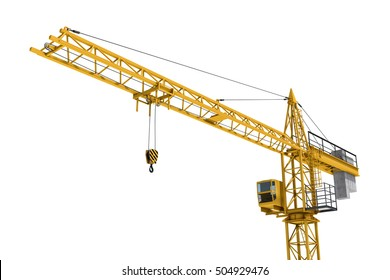3D rendering of a yellow construction crane isolated on a white background. Construction. Tower crane. Modern form of balance crane. Type of machine equipped with a hoist rope, wire ropes or chains