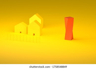 3d rendering yellow farm with modern red building illustration