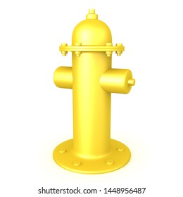 3D Rendering of yellow fire hydrant. 3D Rendering isolated on white.