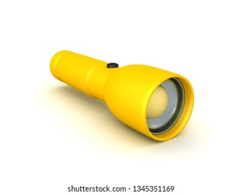 3D Rendering of a yellow flashlight. 3D rendering isolated on white.