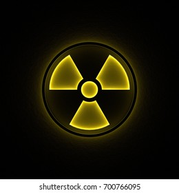 3D rendering of yellow glowing nuke sign on dark rough background