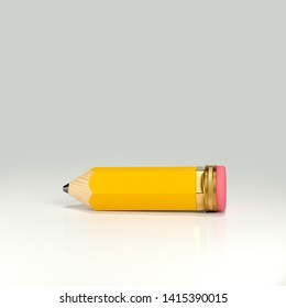 3d rendering of yellow pencil with pink eraser. Soft shadow. Isolated on white background. Wooden short cartoonish style.  Lie on the table. Side view