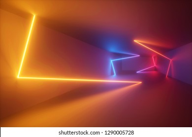 3d rendering, yellow red blue neon light, abstract ultraviolet background, dynamic glowing lines, psychedelic stage, vibrant colors, empty room, tunnel, corridor, night club interior