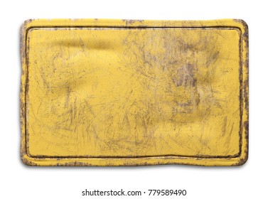 3d rendering of a yellow rusty metallic plate on white background