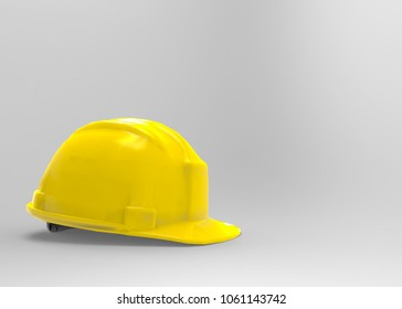 3d rendering. Yellow safty Helmet cap on gray background with clipping path.