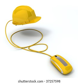 3D rendering of a yellow security system connected to a computer mouse