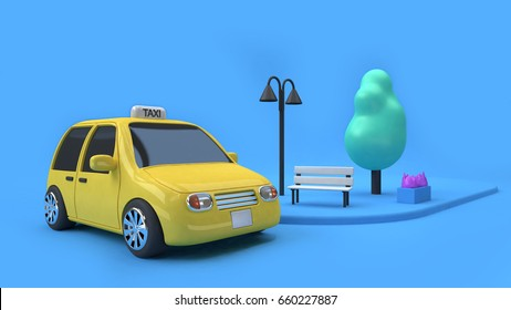 3d rendering yellow taxi eco car and a chair tree lamp on footpath of street,city transportation concept cartoon style