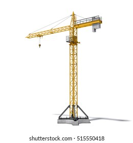 3d rendering of a yellow tower crane full-height isolated on the white background. Building and construction. Machinery and equipment. 3d modeling.