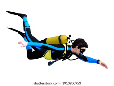 3D rendering of a young male diver isolated on white background
