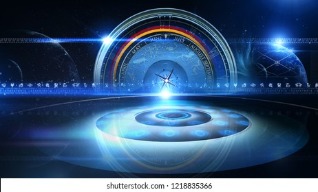 3D rendering, Zodiac Wheel universe colourful backdrop loops. Use them to enhance any astrology video presentation or motion graphics project,3D illustration