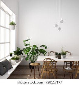 3d rendering,3d illustration,interior design for dining area or working table in modern style with chair, table,plant on wood floor and white concrete wall