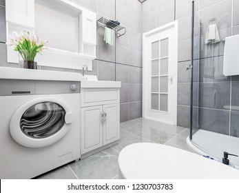 3D rendering,Bathroom and shower room in modern apartment