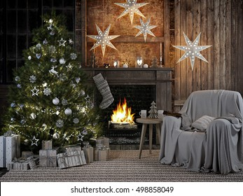 3D RENDERING.cozy christmas interior with firelace and christmastree.