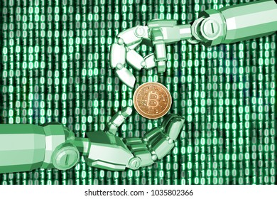 3D rendering,Green theme robot's hand send bitcion to another robot with digital background 0 and 1, finance concept.