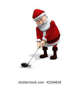 3d rendering/illustration of a cartoon santa playing golf