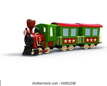 3d rendering/illustration of a stylized toy train