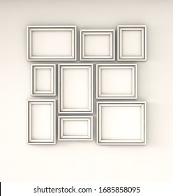3D rendering,Interior poster mockup with square white frames standing on the white wall.