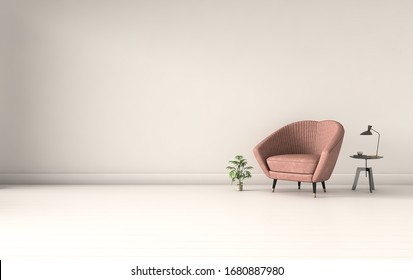 3D rendering,Living room interior wall mock up with pastel coral pink armchair, round pillow, pendant lamp, table and plant on empty beige wall background.