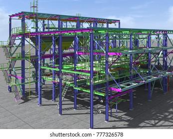 3D rendering-models of industrial buildings from metal. Engineering background. Industrial background.