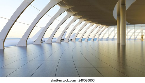 3d rendering.Modern airport passenger terminal. Empty hall interior with ceramic floor to ceiling windows and scenic background