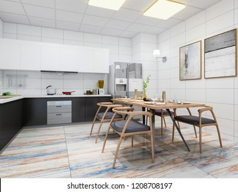 3D rendering,Modern clean home kitchen with refrigerator, cupboard, cooktop, range hood and dining table