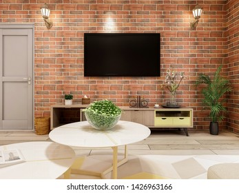 3D rendering,Modern minimalist industrial style living room, with red bricks as a wall very nice
