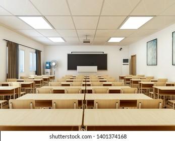 3D rendering,Modern school classroom design